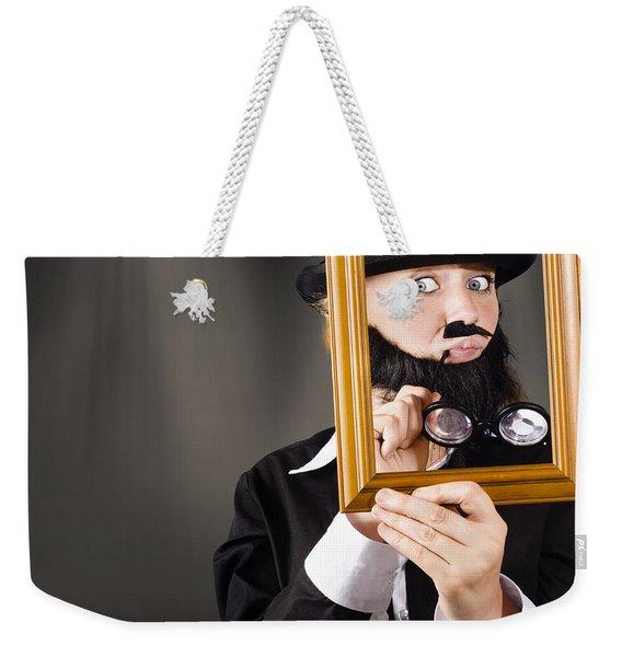 Fine Art Buyer Studying Picture In Modern Gallery Weekender Tote Bag