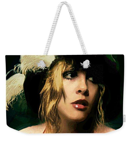 Fine Art Digital Portrait Stevie Nicks Wearing Beret Weekender Tote Bag