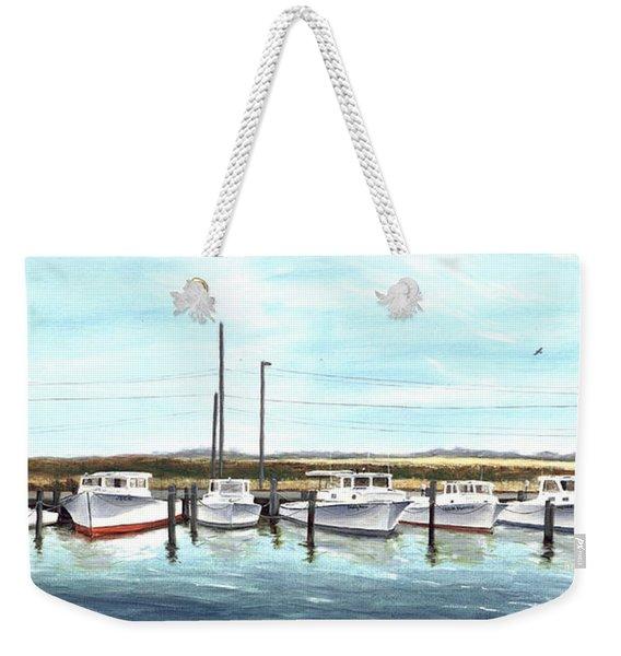 Fine Art Workboats Kent Island Chesapeak Maryland Original Oil Painting Weekender Tote Bag