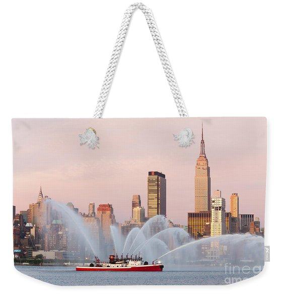 Fire Boat And Manhattan Skyline I Weekender Tote Bag