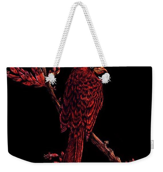 Fire Cardinal Weekender Tote Bag