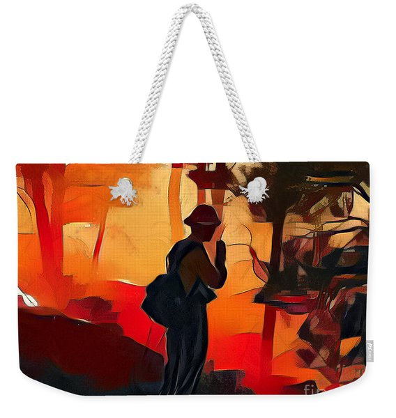 Firefighter On White Draw Fire Weekender Tote Bag