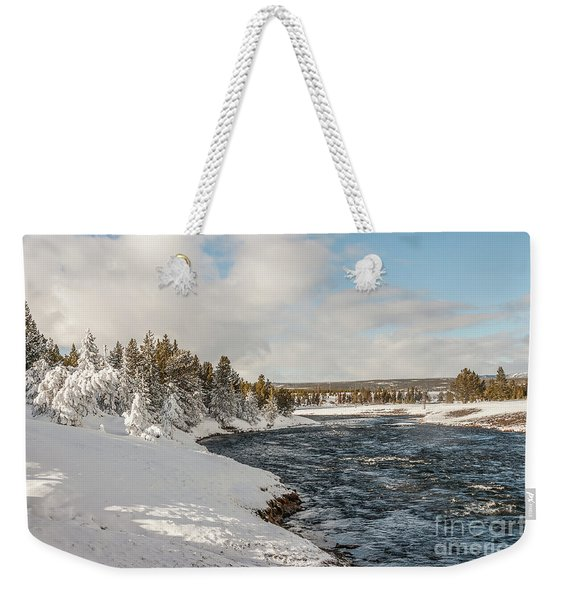 Firehole River On A Winter Day Weekender Tote Bag