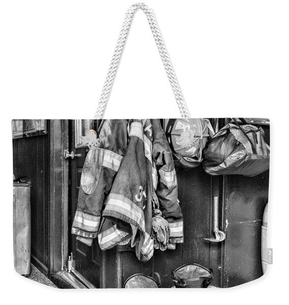 Fireman - Always Ready - Black And White Weekender Tote Bag
