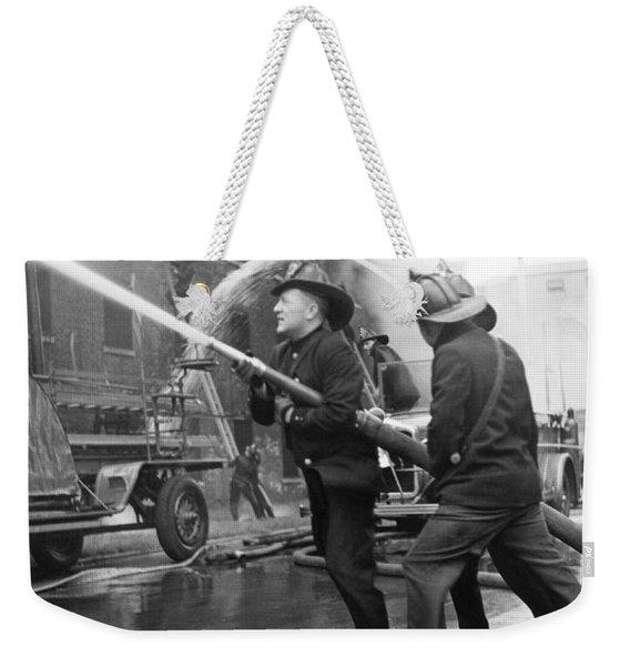Firemen With Hose Weekender Tote Bag