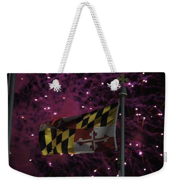Fireworks And The Maryland Flag Weekender Tote Bag