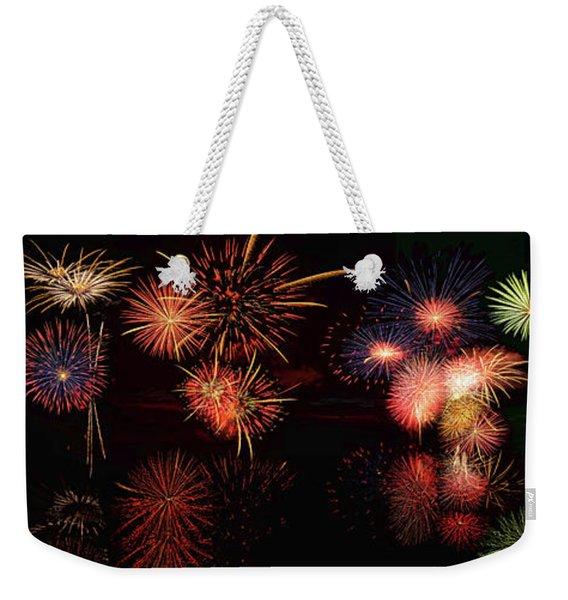 Fireworks Reflection In Water Panorama Weekender Tote Bag