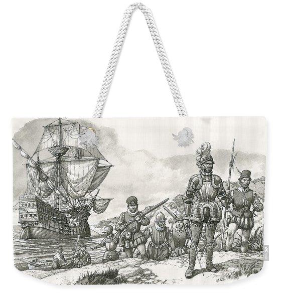 First Europeans Arriving In California  Weekender Tote Bag