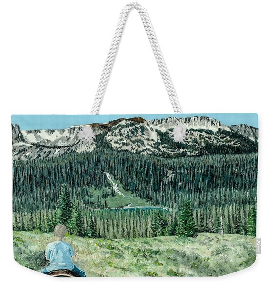 Weekender Tote Bag featuring the painting First Ride by Kevin Daly