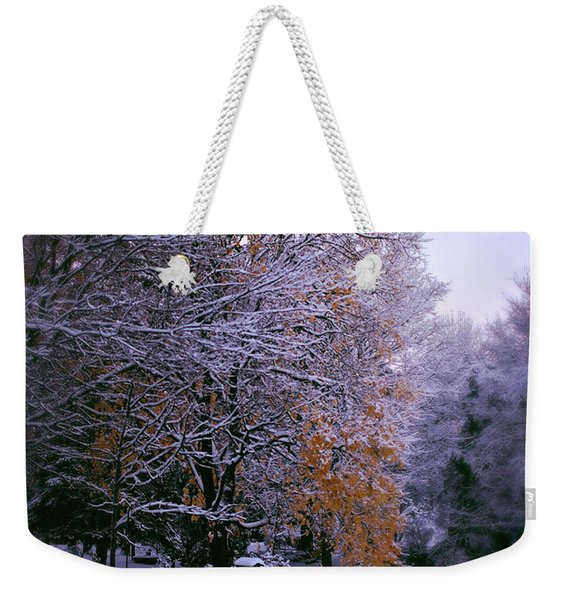 First Snow After Autumn Weekender Tote Bag