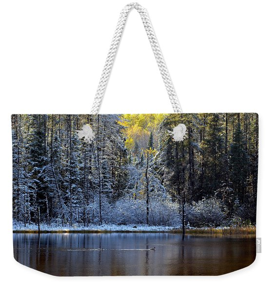 Weekender Tote Bag featuring the photograph First Snow by Doug Gibbons