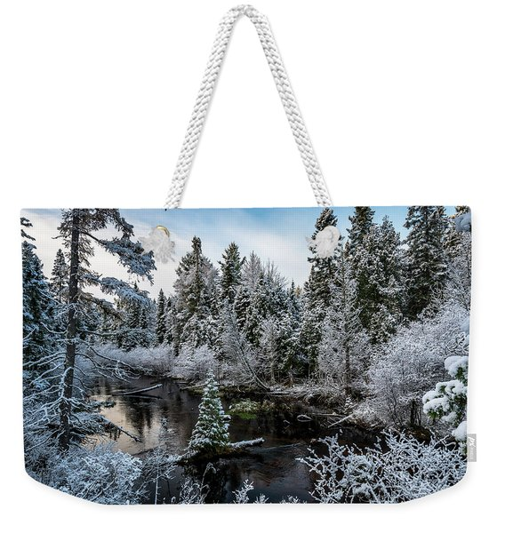 First Snow On Grand Marais Creek Weekender Tote Bag