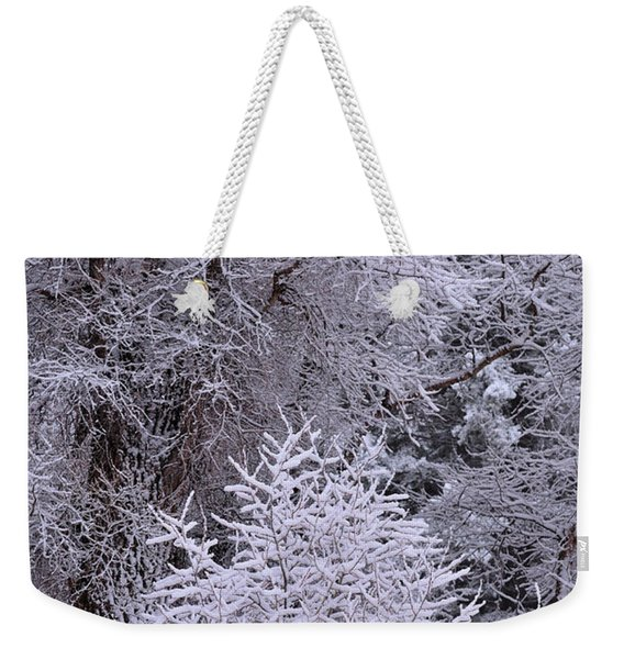 Weekender Tote Bag featuring the photograph First Snow I by Ron Cline