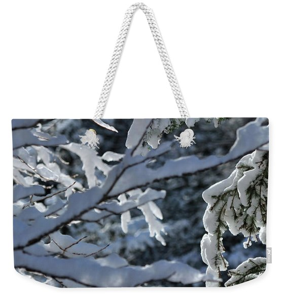 Weekender Tote Bag featuring the photograph First Snow II by Ron Cline