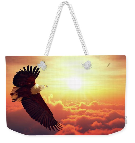 Fish Eagle Flying Above Clouds Weekender Tote Bag