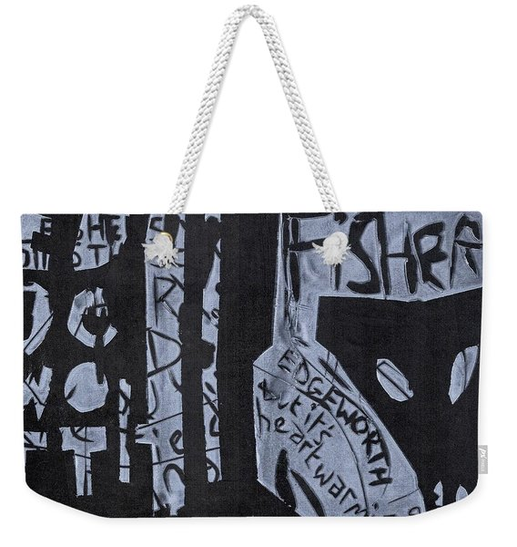 Fisher Covers White On Black Weekender Tote Bag