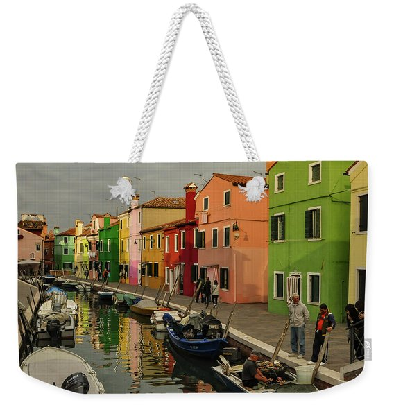 Fisherman At Work In Colorful Burano Weekender Tote Bag