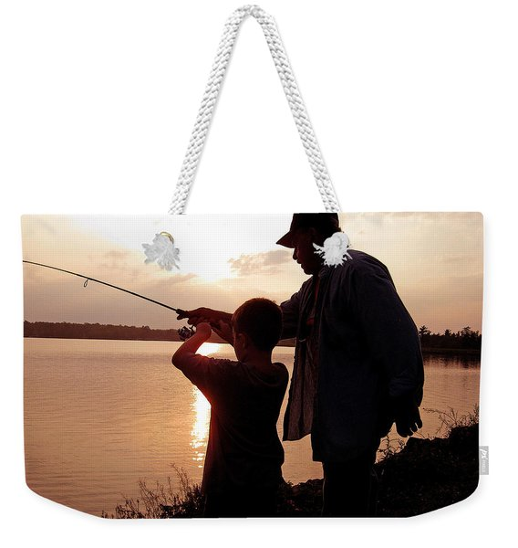 Fishing At Sunset Grandfather And Grandson Weekender Tote Bag