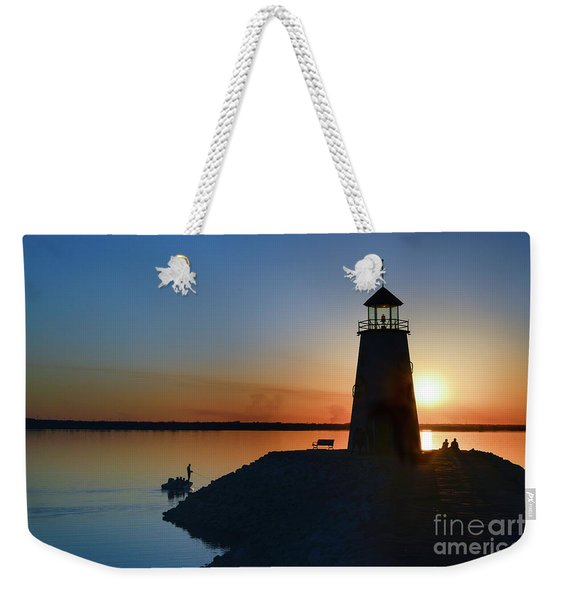 Fishing At The Lighthouse Weekender Tote Bag