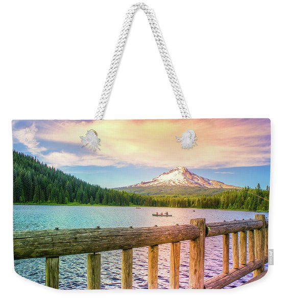 Fishing At Trillium Lake, Oregon  Weekender Tote Bag