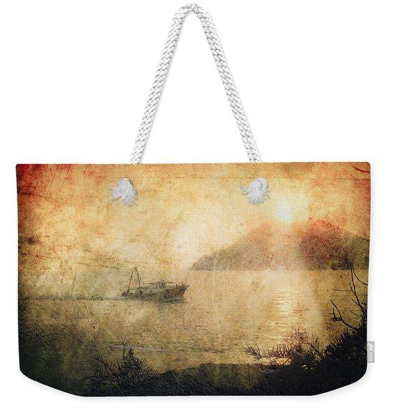 Fishing Boat At Sunset Weekender Tote Bag