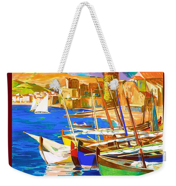 Fishing Boats In Collioure Harbor Weekender Tote Bag