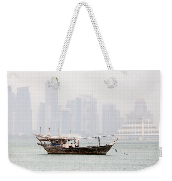Fishing Dhow And Misty Towers Weekender Tote Bag