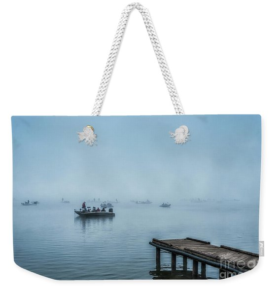 Fishing In The Fog Summersville Lake  Weekender Tote Bag