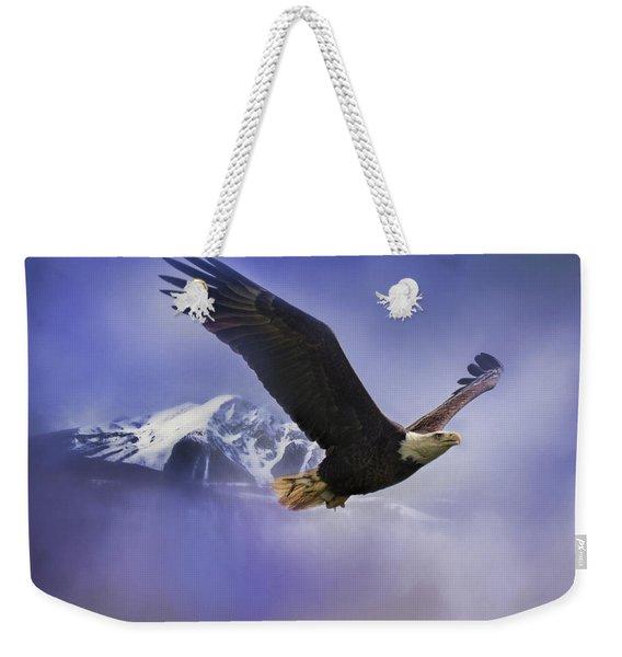 Fishing In Winter Bald Eagle Art Weekender Tote Bag