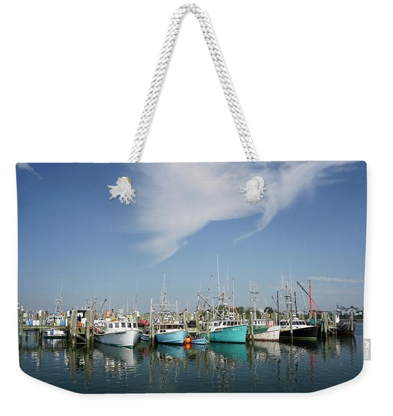Weekender Tote Bag featuring the photograph Fishing Vessels At Galilee Rhode Island by Nancy De Flon