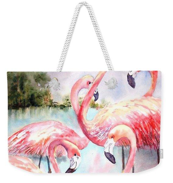 Five Flamingos Weekender Tote Bag
