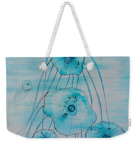 Weekender Tote Bag featuring the painting Five Jelly Family by Kim Nelson