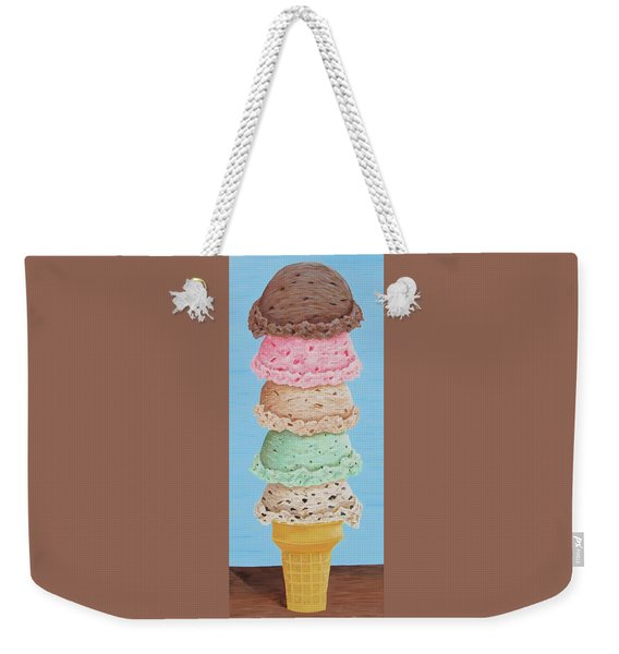 Weekender Tote Bag featuring the painting Five Scoop Ice Cream Cone by Nancy Nale