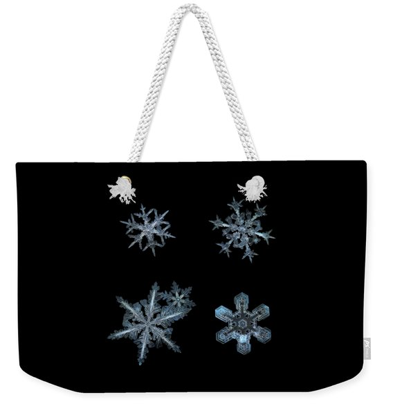 Five Snowflakes On Black 3 Weekender Tote Bag