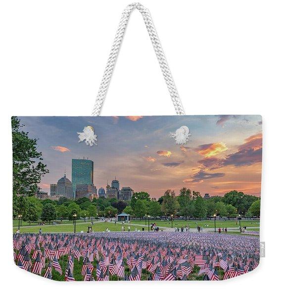 Flag Sunset On Boston Common Weekender Tote Bag