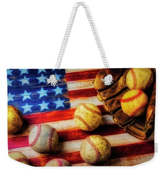 Flag With Baseballs Weekender Tote Bag
