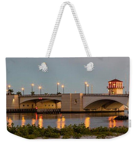 Flagler Bridge In Lights Panorama Weekender Tote Bag