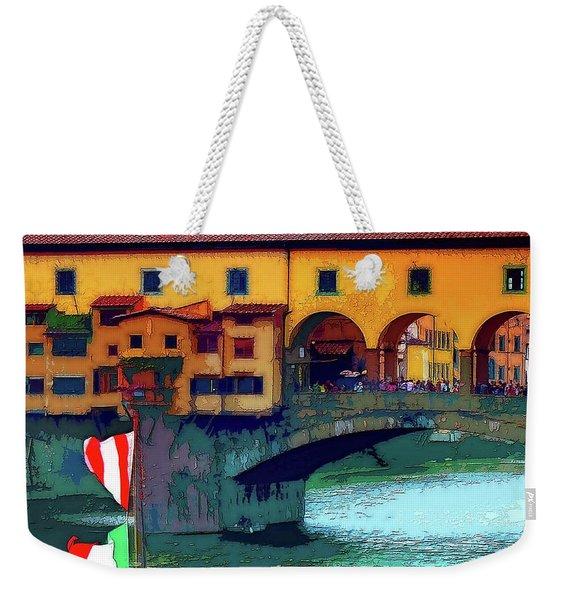 Flags At Ponte Vecchio Bridge Weekender Tote Bag