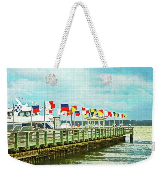 Flags At The Pier Weekender Tote Bag