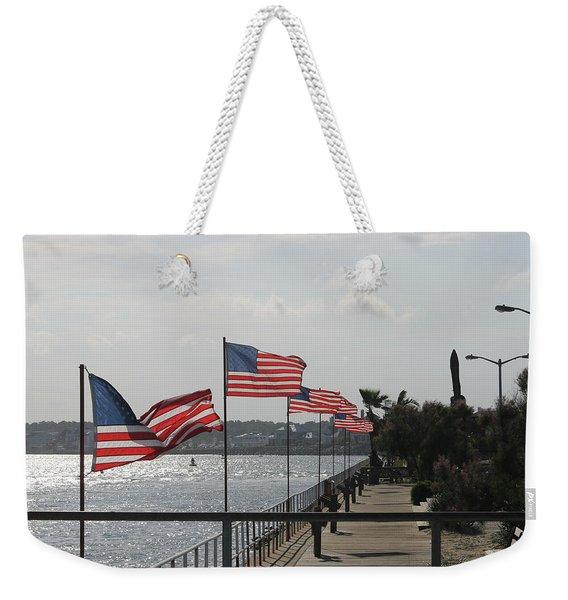 Flags On The Inlet Boardwalk Weekender Tote Bag