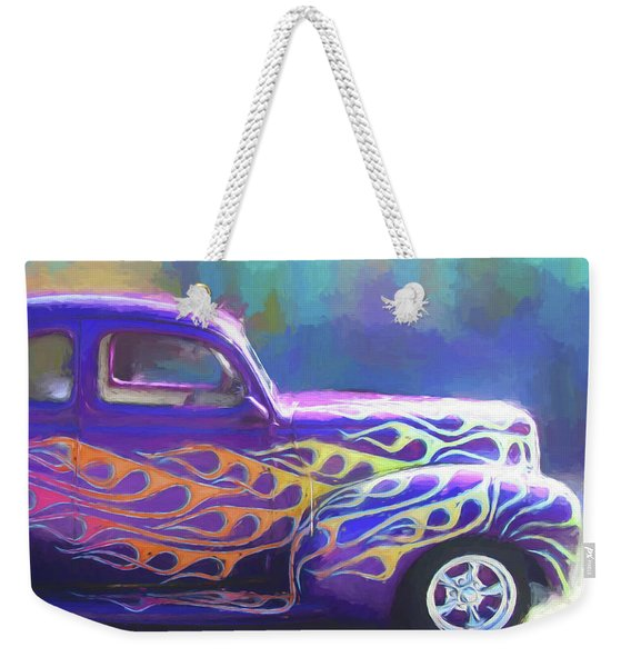 Flamed 1940 Ford Weekender Tote Bag