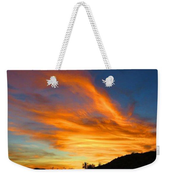Flaming Hand Sunset Weekender Tote Bag