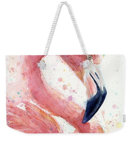 Flamingo - Facing Right Weekender Tote Bag