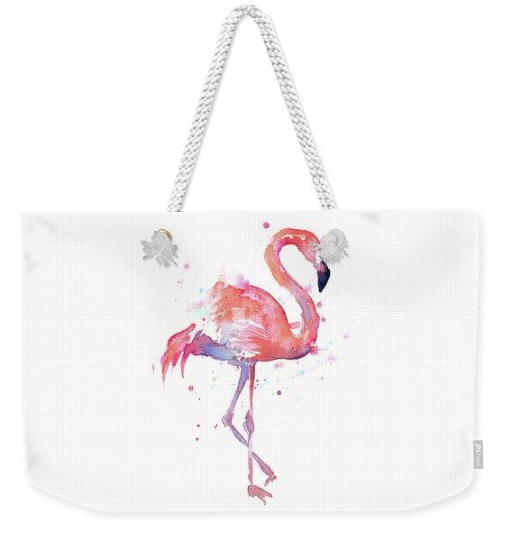 Flamingo Watercolor Facing Right Weekender Tote Bag