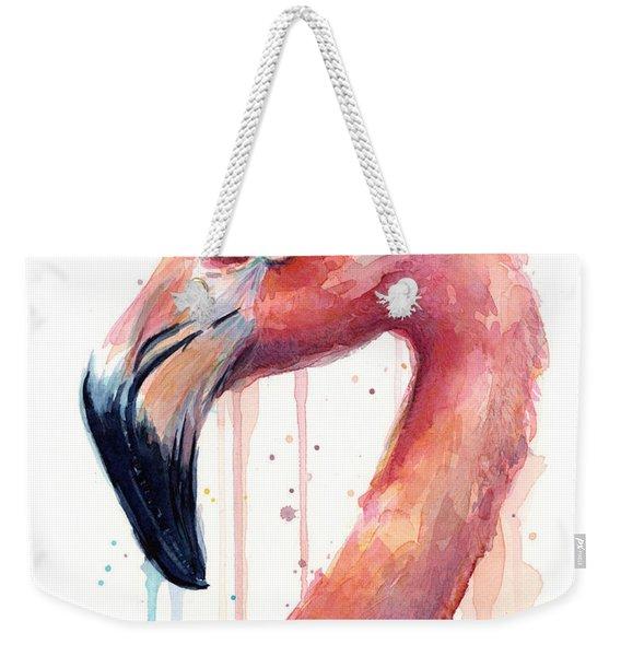 Flamingo Watercolor Illustration Weekender Tote Bag