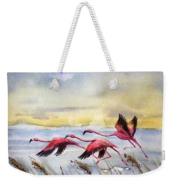 Flamingoes Flight Weekender Tote Bag