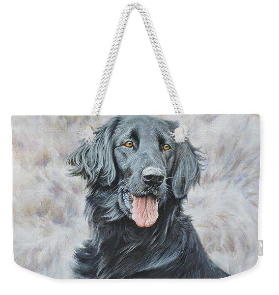 Flat Coated Retriever Portrait Weekender Tote Bag