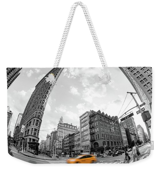 Flatiron Building With Iconic Yellow Taxi Weekender Tote Bag