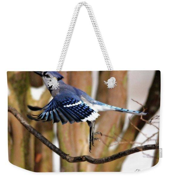 Flight Of The Blue Jay Weekender Tote Bag