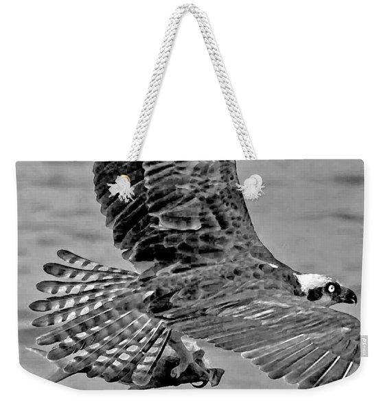 Flight Of The Osprey Bw Weekender Tote Bag